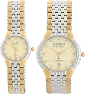 Accurate Watch Set For Unisex Analog Stainless Steel - AMQ1908T-ALQ1908T
