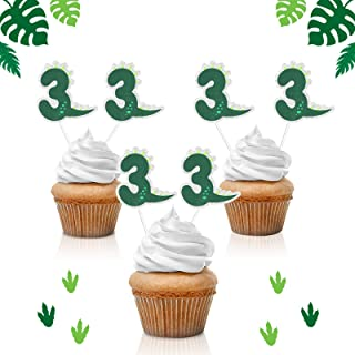 18pcs Dinosaur Number 3 Cupcake Toppers - Jungle Jurassic Party Glitter Baby Dinosaur Party Supplies - Novelty Boy's 3rd B...