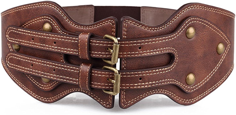 GABERLY Vintage Gothic Steampunk Brown Leather Belt for Women