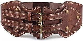 Vintage Gothic Steampunk Brown Leather Belt for Women