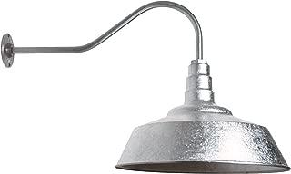 20 Inch Standard Steel Dome | 23 Inch Gooseneck Barn Light (Galvanized)