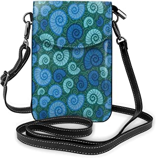 Jiger Women Small Cell Phone Purse Crossbody,Periwinkle And Chesnut Turban Shell On Dotted Vortex Shape Motif