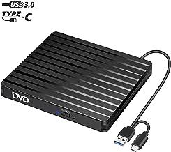 BEVA Lecteur de CD/DVD Externe USB 3.0 et Type C avec graveur, Transmission Rapide Câble..