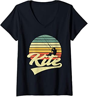 Womens KITE Kiteboarding Kiting Kitesurfing Kitesurf Vintage Retro V-Neck T-Shirt
