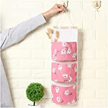 Rose Fablcrew 1 Pi/èce Sac de Rangement Suspendu Sac Organisateur Mural en Tissu Lin et Coton avec 3 Poches Motif de Cactus Size 56 20CM
