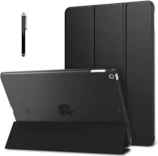 "ProElite Smart Flip Case Cover for Apple iPad 10.2"" 7th Generation with Stylus Pen, Translucent & Hard Back, Black"