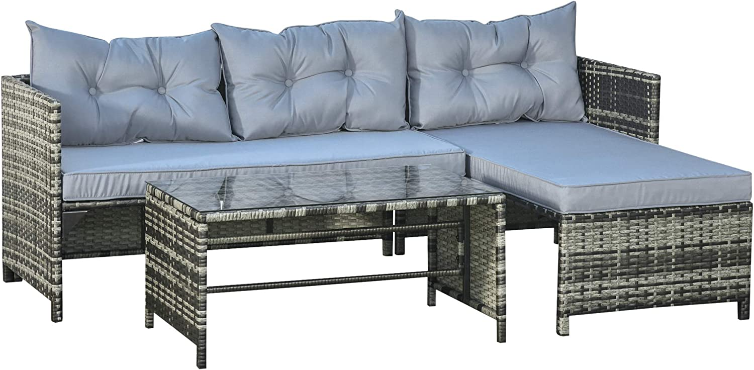 Outsunny 3-Piece Rattan Patio Furniture Sofa Set Conversation Set, Sectional Lounge Chaise Cushioned for Garden Poolside or Porch Lounging, Grey