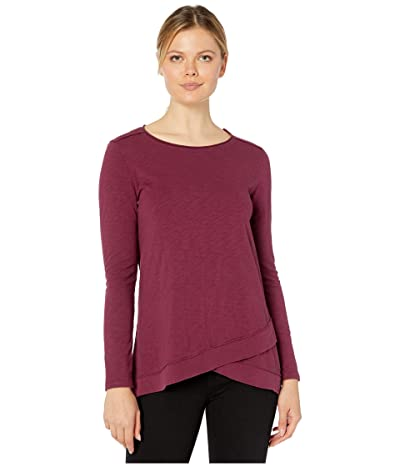 Mod-o-doc Heavier Slub Jersey Long Sleeve Tee with Crossover Rib Hem (Fine Wine) Women