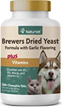 NaturVet – Brewer's Dried Yeast Formula with Garlic Flavoring – Plus Vitamins – Supports Healthy Skin & Glossy Coat –Fortified with B-1, B-2, Niacin & Vitamin C –for Dogs & Cats