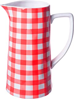 Farmhouse Spouted Handled Casual Country - 64 Ounce - Glossy Ceramic Stoneware Pitcher, Red Gingham - 64oz