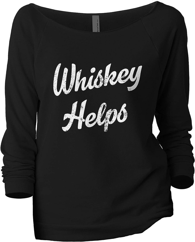Whiskey Helps Women's Fashion Slouchy 3/4 Sleeves Raglan Lightweight Sweatshirt