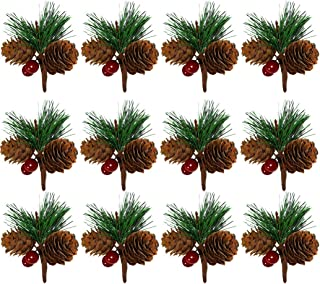 B bangcool 12PCS Christmas Pine Picks Mini Pinecone Artificial Plant Christmas Decoration New Year Gift