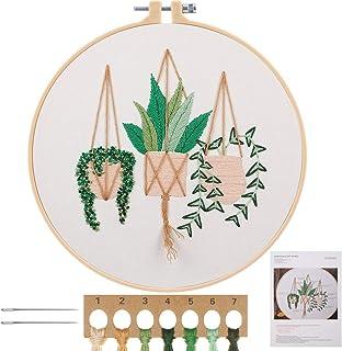 MWOOT Kit de Démarrage de Broderie, DIY Point de Croix Broderie Starter kit,Embroidery Starter Kit pour Adultes Débutant -...
