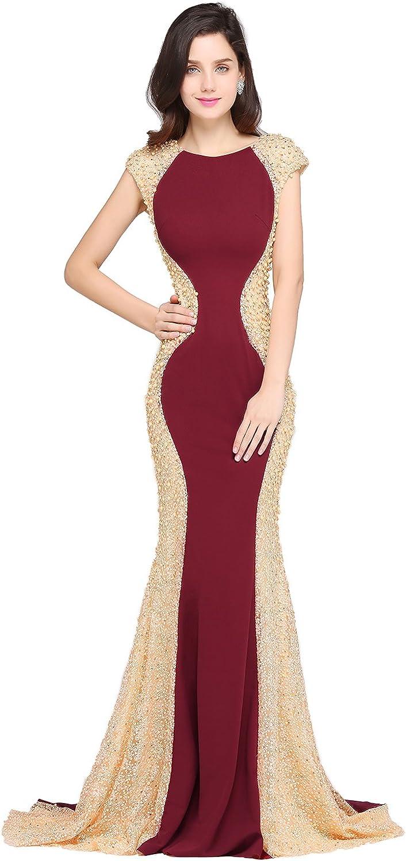 Kudress Long Beads Modest Mermaid Prom Dress (S)