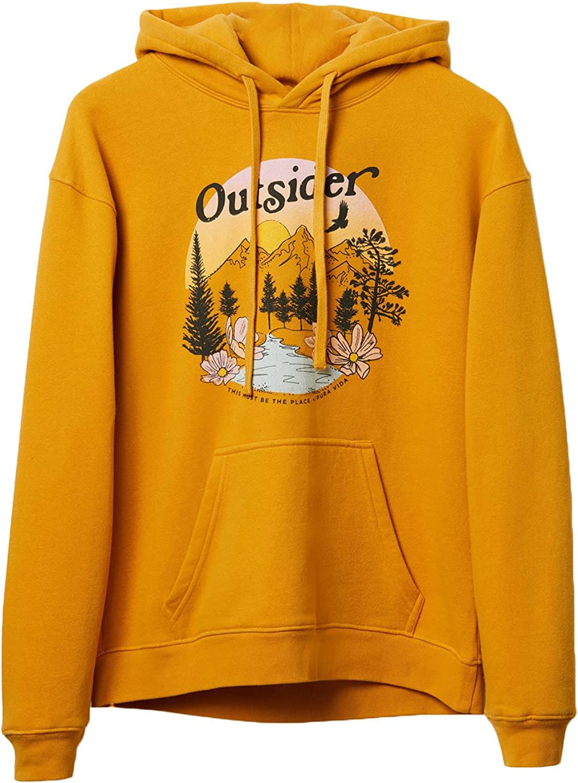 Pura Vida Women's Outsider Hoodie Pullover Sweatshirt - Flat Drawcord, True to Size - Vintage Honey