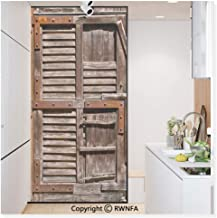 Decorative Privacy Window Film Vintage Wooden Italian Countryside Cottage Door Row Structured Region Style Picture No-Glue Self Static Cling for Home Bedroom Bathroom Kitchen Office,Umber Brown