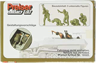 Preiser 16540 Military Former German Army WWII Unpainted Figures Mortar Crew HO Scale Military Model Figure