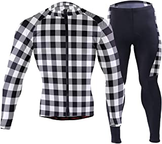 Cindly White Buffalo Plaid Men's Bicycle Jersey Full Sleeve Padded Bike Pants Compression Cycle Clothes