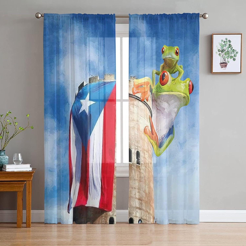 2 Panels Sheer Voile Rod Free San Antonio Mall Shipping New Pocket Puerto Rico Eye Red Curtain Flag