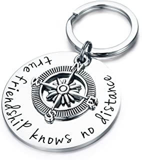 Udobuy Best Friend Keychain - True Friendship Knows No Distance Compass Keychain Long Distance Relationship Gifts