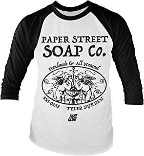 Officially Licensed Fight Club - Paper Street Soap Company Baseball Long Sleeve T-Shirt (White/Black)
