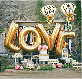 (Golden Love (40 Inches) and Golden Ring Balloon (27 Inches)) - Ruimeier Love Balloons (100cm ) and I Do Diamond Ring Balloons (70cm ) Golden Large Foil Balloon Set for Wedding Bridal Shower Anniversary Birthday Party Vow Renewal Decorations H007A