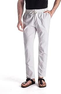 Men's Linen Drawstring Casual Beach Pants-Lightweight Summer Trousers