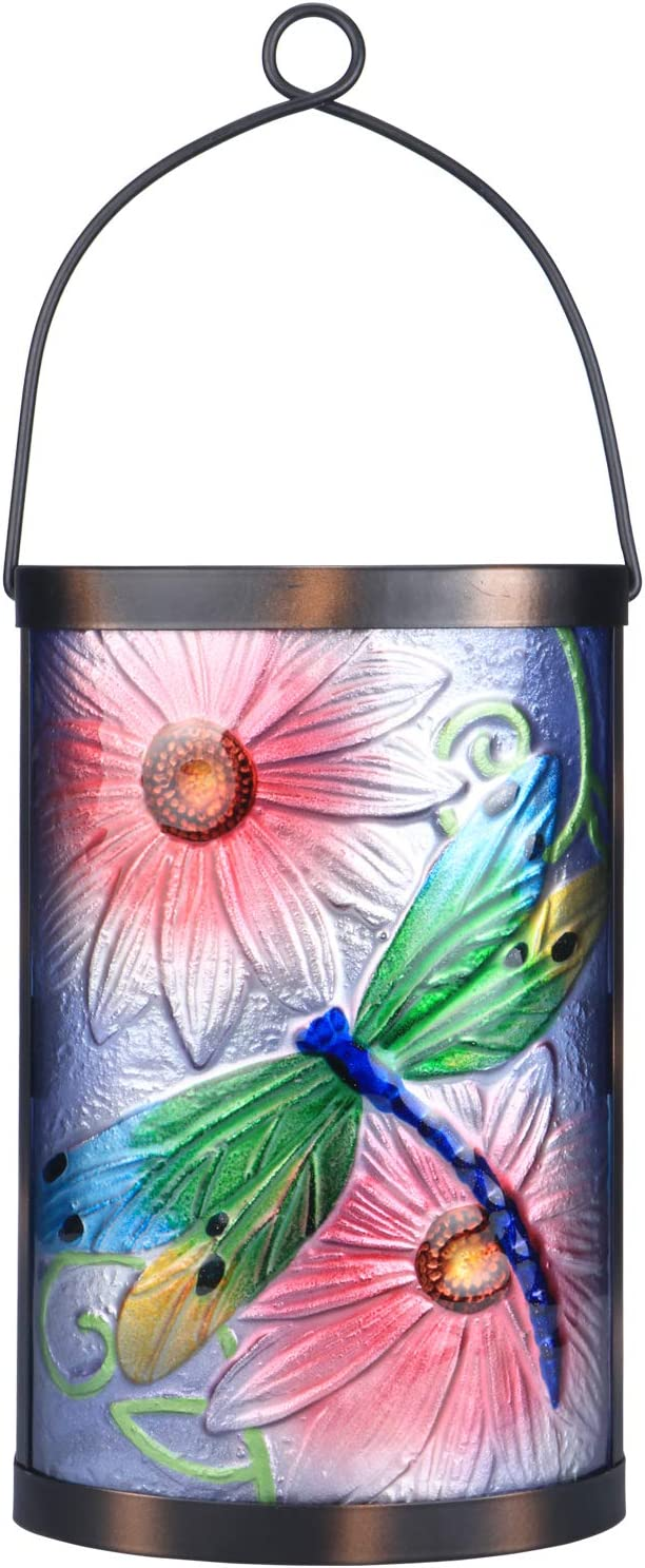 Super special price Afirst Solar Lantern Max 72% OFF Outdoor Dragonfly Hanging Glass Light