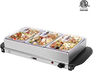 VIVOHOME Electric 2.5 Quart Stainless Steel Buffet Server with Triple Food Warming Trays for Parties ETL Listed