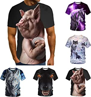 Men'S Short Sleeve T-Shirt Fun Animal print 3D Printed Tee Soft T-Shirts Men Classic Crew Neck Tee Multi-Size and Style Op...