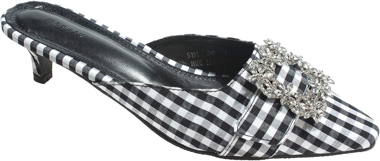 AnnaKastle Womens Pointed Toe Crystal Buckle Mule Slide Kitten Heel Sandals