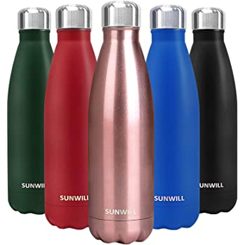 SUNWILL Insulated Stainless Steel Water Bottle Rose Gold, Vacuum Double Wall Sports Water Bottle 17oz, Cola Shape Travel Thermal Flask