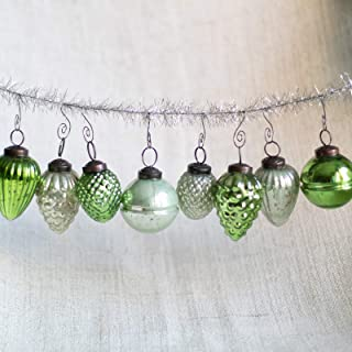8 Green with Mint Vintage/Antique Style Christmas- Glass Mercury Ornaments - Includes Matching Swirl Xmas Tree Hooks