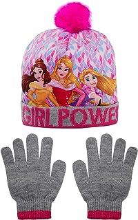 Disney Juego de gorro de princesa y guantes de purpurina para niñas