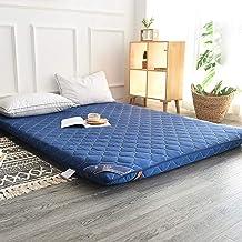 Reversible Tatami Mattress Cover Quilted Futon Mattress Soft Thick Foldable Mattress Camping Mat Guest Bed-Blue Queen
