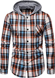 Iris Sprite Men Hooded Plaid Shirts Button Splice Sweatshirt Long Sleeve Lattice Tops