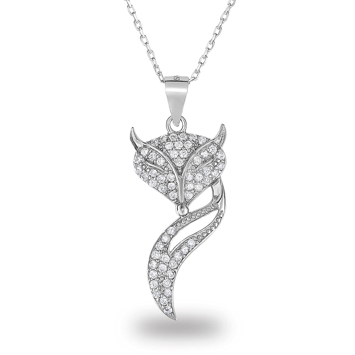 Spoil Cupid 925 Sterling Silver Cubic Zirconia Pave Fox Novelty Pendant Necklace, 18 dyiuqmvopyw413