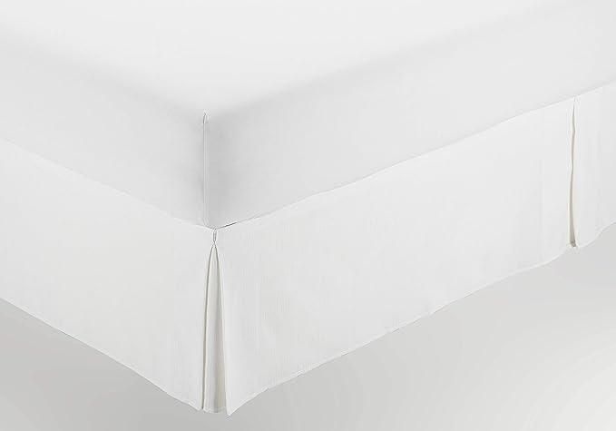 ESTELIA - Cubrecanapé de Hilo Tintado Color Blanco óptico - Cama de 90 (Alto 30 cm) - con Velcro Adhesivo - 50% algodón / 50% poliéster