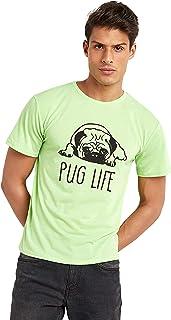 تي شيرت قصة عادية مطبع بعبارة Pug Life