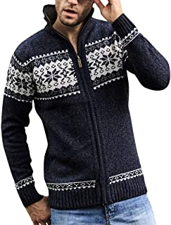 Beautyfine Men's Fashion Knitted Cardigan Sweater Pure Color Blouse Coat