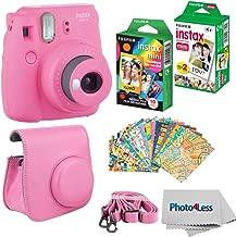Fujifilm Instax Mini 9 Instant Film Camera - Fujifilm Instax Mini Instant Film, Twin Pack - Fujifilm Instax Mini Rainbow Film - Case for Fuji Mini Camera – Fuji Instax Accessory Bundle (Flamingo Pink)