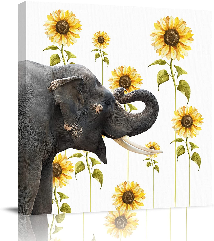 Modern Canvas depot Wall Art Bathroom Elephant Painting Happy Su Mesa Mall Decor