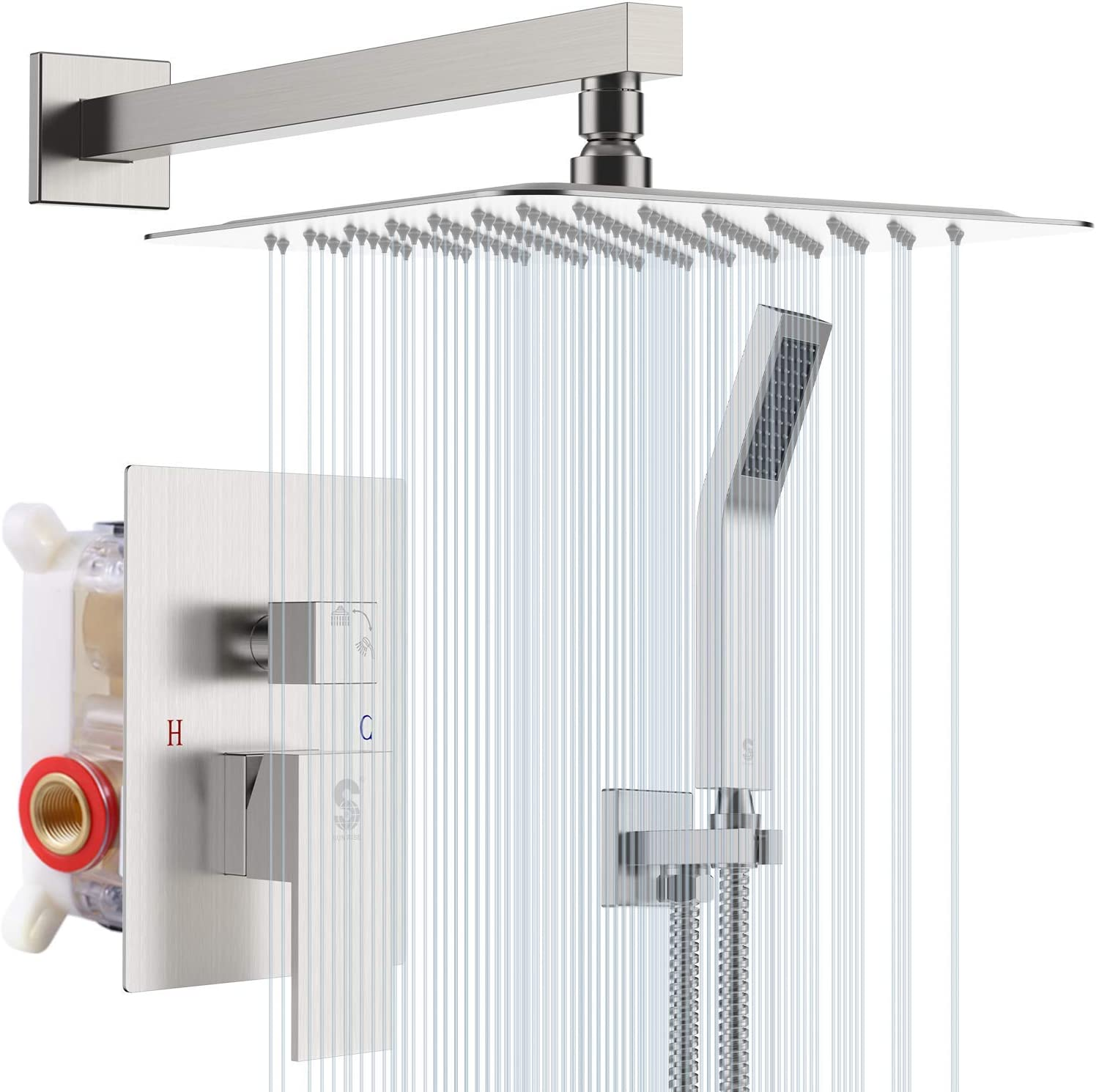 SR SUN RISE 20 Inches Bathroom Luxury Rain Mixer Shower Combo Set Wall  Mounted Rainfall Shower Head System Brushed Nickel Finish Shower Faucet ...