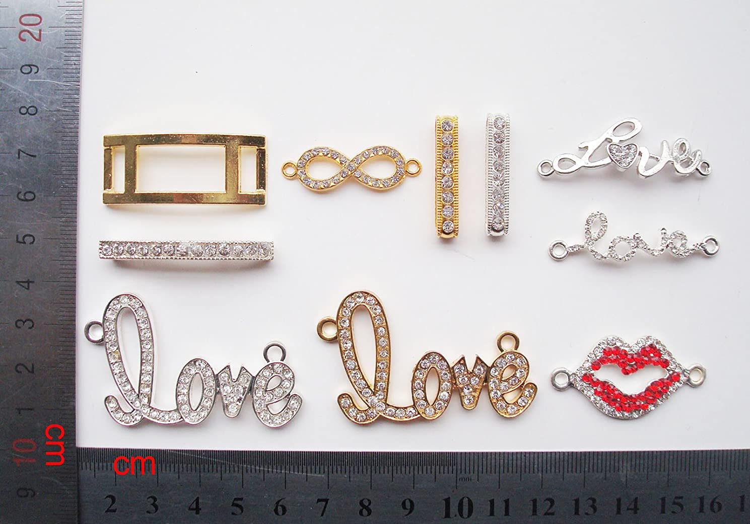 5Afashion Mixed 10pcs Cross Metal Pave Czech Crystals Sideways Connector Loose Alloy Beads for Jewelry Necklace Pendants and Bracelet Charms (2)