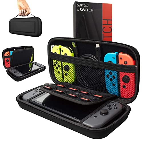 Carry Case for Nintendo Switch with Game Cartridge Holders and Large Pocket for accessories