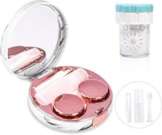 تماس با کیت مسافرتی لنز با شوینده تمیز کننده ، جعبه تماس قابل حمل با ابزار پاک کن آینه موز بطری محلول روزانه در فضای باز