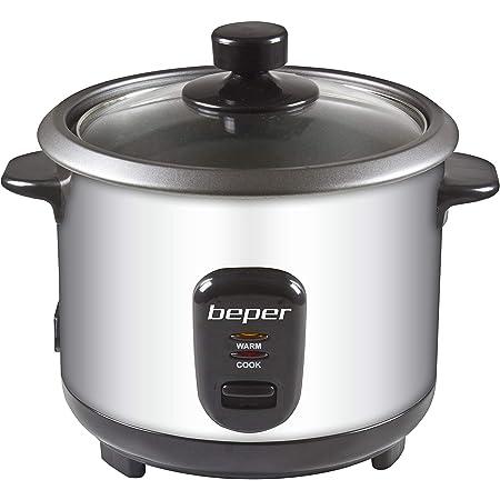 Beper - Rice Cooker et Cuiseur à Vapeur 2en1 en Acier, Capacité 1L pour 625gr de Riz, Système de Maintien de la Chaleur, Mesureur et Cuillère - Argent / Noir