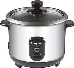 Beper - Rice Cooker et Cuiseur à Vapeur 2en1 en Acier, Capacité 1L pour 625gr de Riz, Système de Maintien de la Chaleur, M...