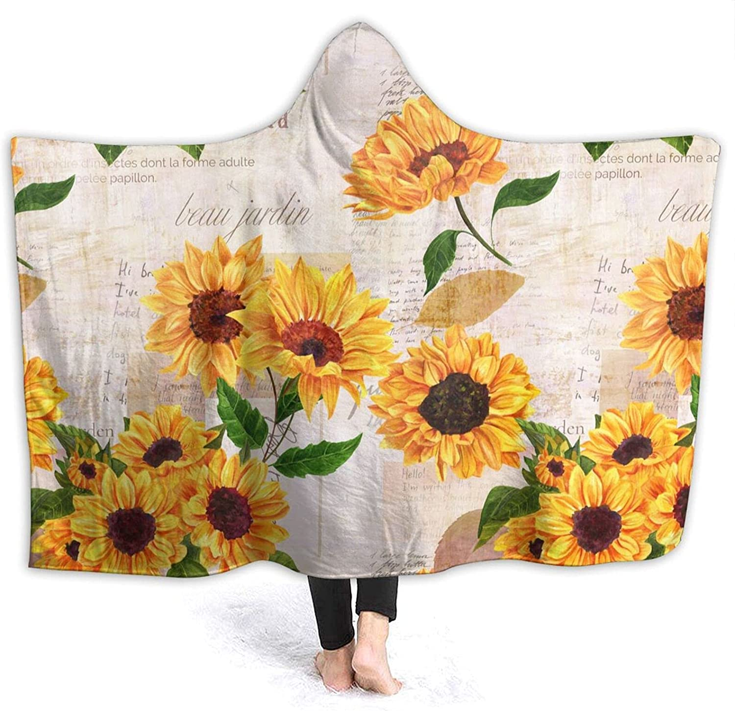 Letter free shipping Ranking TOP18 Sunflower Hooded Blanket 3D Print Weara Sherpa Soft Super