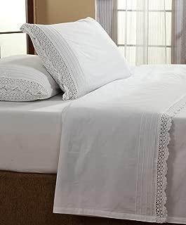 Be-you-tiful Home Cotton Crochet Sheet Set, Twin, White
